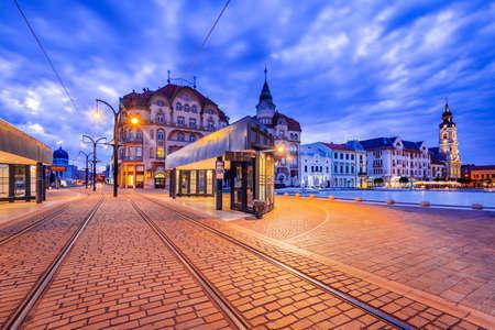 Oradea, Transylvania with tram station in Union Square cityscape in Romania