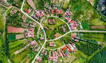 Charlottenburg, Romania - Round village in Banat, Transylvania historic province. 免版税图像