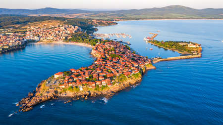 Sozopol, Bulgaria. Aerial view of the old town of Sozopol, seaside town near Burgas