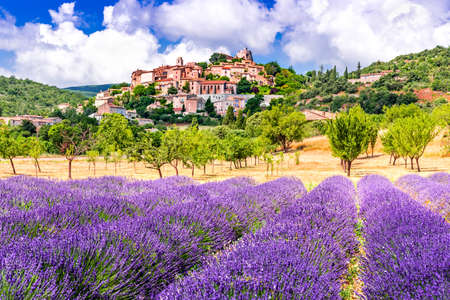 Banon, France - Hilltop village with lavender fields in famous Luberon region Provence
