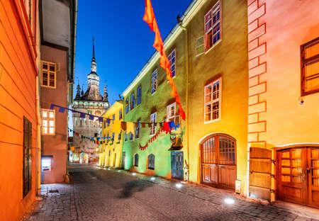Sighisoara, Romania - Night scene downtown in saxon Transylvania. Stock Photo