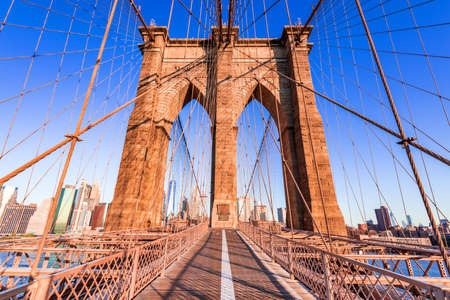 New York, Brooklyn Bridge - Downtown of Manhattan, New York city architectural scenery in United States of America.