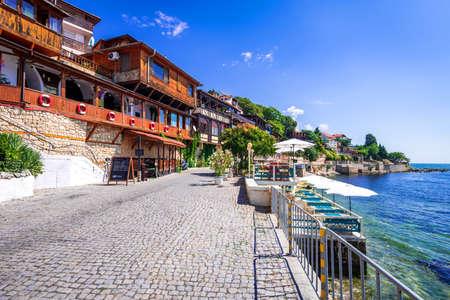 Nesebar, Bulgaria. Msembria ancient city on the Black Sea coast Burgas province. 免版税图像