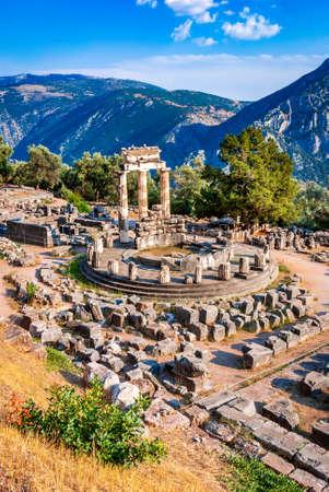 Delphi, Greece. Tholos temple, sanctuary of Athena Pronaia ancient Greek civilization.