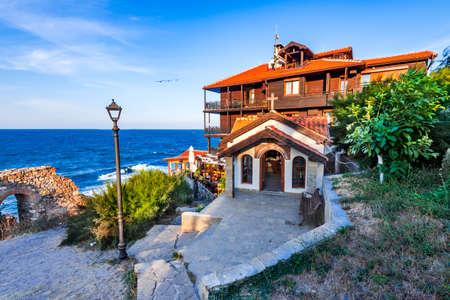 Sozopol, Bulgaria. Black Sea idyllic coastline on medieval downtown of Apollonia, Balkans.
