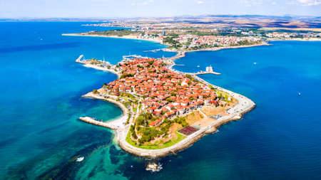 Nesebar, Bulgaria. Aerial view of Mesembria ancient city on the Black Sea coast of Bulgaria.