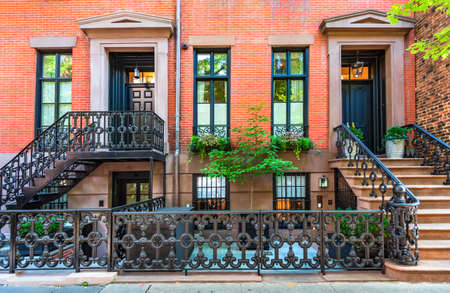 New York, USA - September 2019: Generic architecture on Grove Street, Lower Manhattan in United States of America.