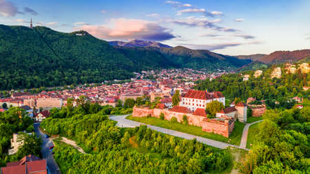 Brasov, Romania. Stunning sunrise view from The Citadel medieval fortress in Transylvania