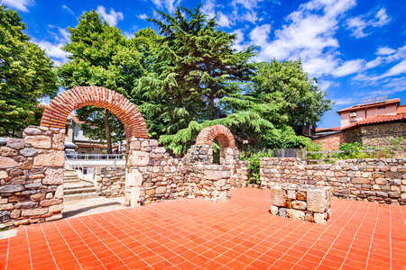 Sozopol, Bulgaria. Arch of the ancient city of Apollonia, Byzantine Empire architecture.