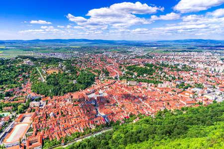 Brasov, Romania - Aerial view of medieval downtown of Brasov in Transylvania