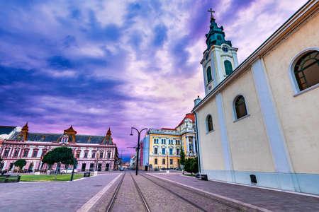 Oradea, Romania - Tram line in Union Square cityscape in Romania 免版税图像