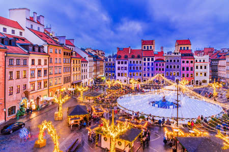 Warsaw, Poland - Skating rink in the Old Town Square and Christmas Market