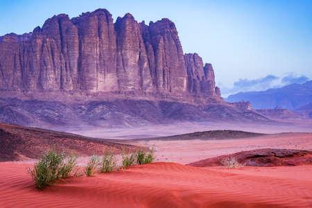 Wadi Rum, Jordan. El Qattar mountain in  Valley of the Moon,  Arabia Desert.