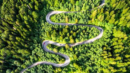 Sinaia, Romania. Windy road in Carpathian Mountains, Bucegi.