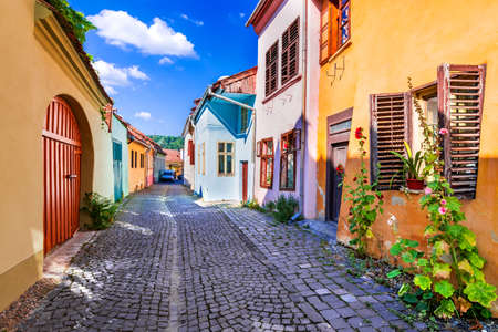Sighisoara, Romania. Famous paved old streets with colorful houses in the medieval city-fortress in  Transylvania, Europe