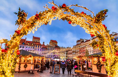 Warsaw, Poland - December 2019: Christmas Market in Warsaw, old Town Square