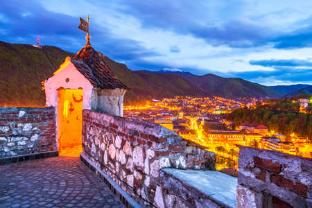 Brasov, Romania. HDR sunrise view of Brasov Fortress ( The Citadel or Fortress Hill ), part of the city outer fortification system built in 1553 for protective purposes of Transylvania.