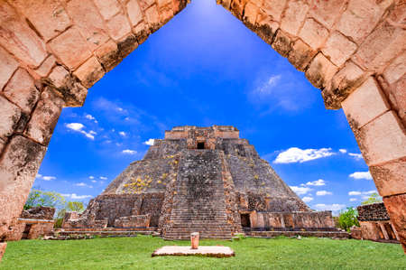 Uxmal, Pyramid of the Magician, pre-Hispanic ancient Maya city of the classical period in Mexico.