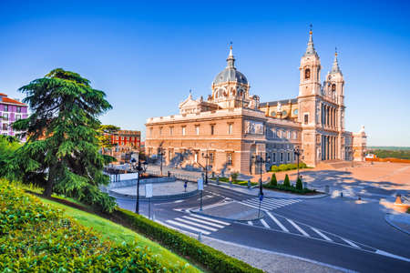 Madrid, Spain - The Cathedral of Saint Mary the Ryoal of La Almudena at sunrise