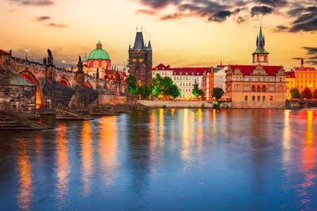 Prague, Czech Republic. Charles Bridge over Vltava River sunset and Stare Mesto, Bohemia famous place in Europe