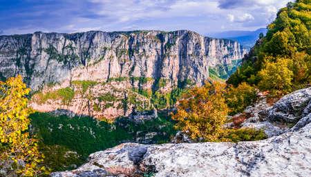 Vikos Gorge in the autumn in Epirus Zagorohoria, Greece. Stock fotó