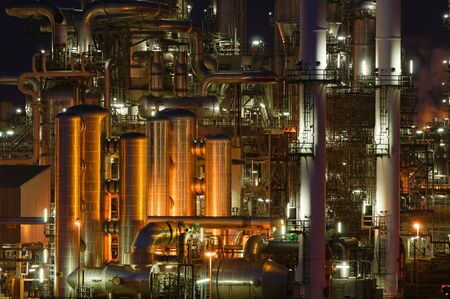 Intimate details of a chemical production facility at night Stock Photo - 3125006
