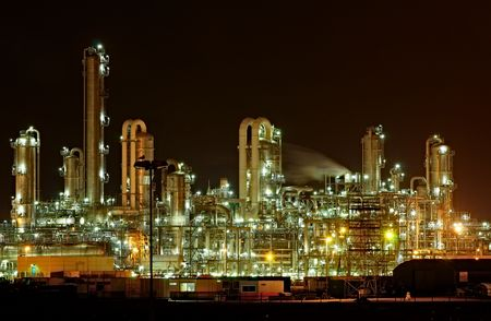 Chemical production facility at night