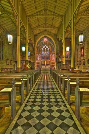 jezus: High Dynamic Range (HDR) imperssion of the internal architecture of Saint Lawrence Church in Sydney, Australia Stock Photo