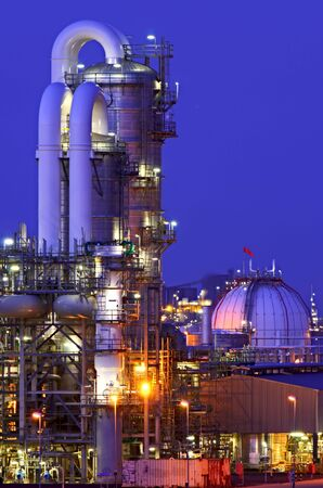 chemical hazard: Intimate details of a chemical production facility at night