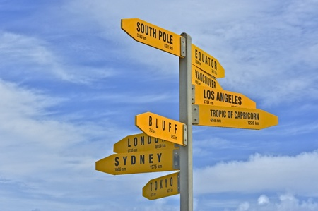 reinga: Nameplates to cities in all wind directions, Cape Reinga, late summer, North Island, New Zealand.