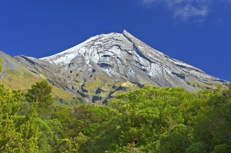 dormant: Mt Egmond as seen from the Visitor Center, New Zealand. Stock Photo