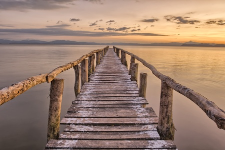 wooden dock: Landing Stage after sunset