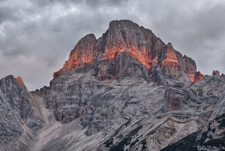 rockslide: Colorful Croda Rossa summit in the Italian Dolomites. Stock Photo