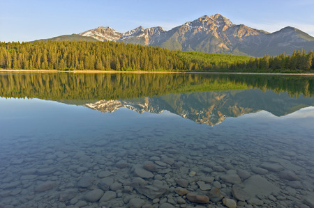 jasper: Beautiful Patrica Lake just after sunrise, Jasper National Park, Alberta, Canada
