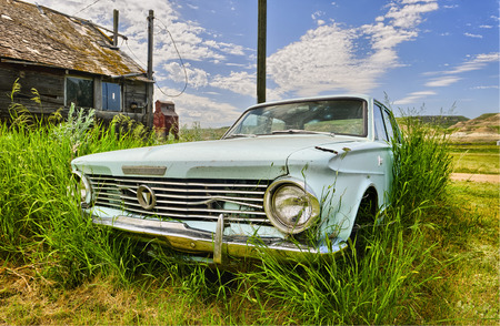 Old car in the ghost town of Dorothy, Alberta, Canada