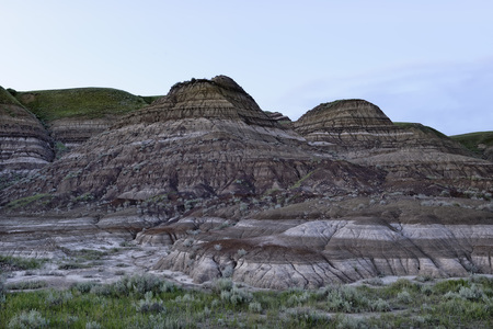 alberta: Drumheller Badlands in soft twilight, Alberta, Canada Stock Photo