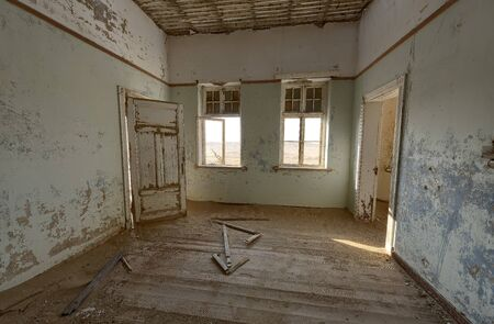 View from a room in a deserted building in hot Namibian desert. Stok Fotoğraf