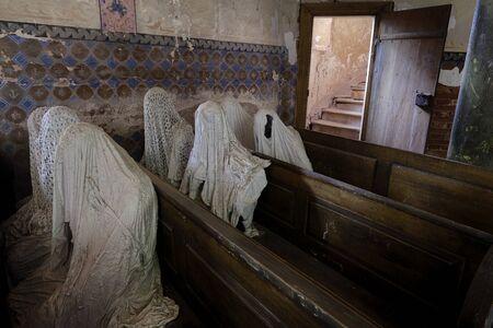 Ghostly figures in church, Czech Republic. 写真素材