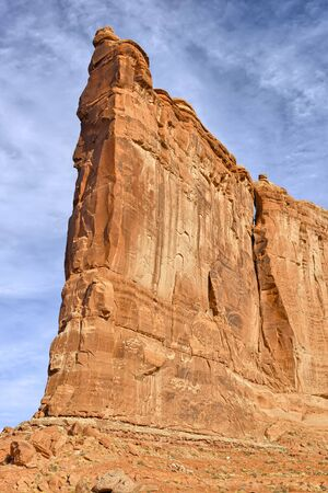 Tower of Babel with climbers, Arches National Park, Utah, USA