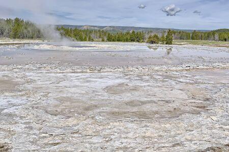 Great Fountain Geyser runoff, Low Geyser Basin, Yellowstone National Park, Wyoming, USA