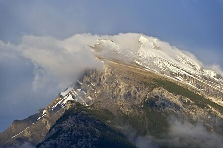 Heavy winds on Mt Rundle, Banff National Park, Alberta, Canada