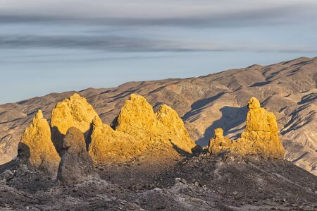 Warm light of the setting sun on the Trona Pinnacles, Sears Valley