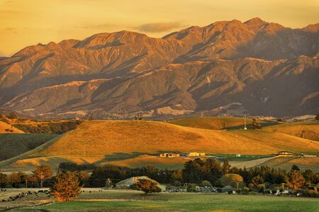 Exceptionally warm sunrise on the Kaikoura Ranges, South Island, New Zealand