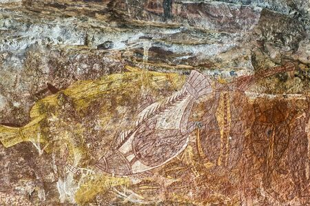Ancient rock drawing of animals, Northern Territories, Australia