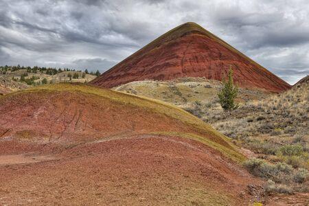 Les Painted Hills de l'Oregon sont l'une des trois unités du monument national John Day Fossil Beds. Ils sont répertoriés comme l'une des sept merveilles de l'Oregon. Autrefois, cette zone était une plaine inondable fluviale avec un climat tropical chaud et une abondance de plantes formant des forêts luxuriantes avec des animaux préhistoriques exotiques comme les tigres à dents de sable. Une abondance de restes fossiles rend la région particulièrement importante pour les paléontologues vertébrés. Sur une période de 35 millions d'années, le paysage s'est transformé à plusieurs reprises en raison des éruptions volcaniques et des changements climatiques. Des couches de cendres et de différents types de sol mélangés à des minéraux et à des matières végétales et érodés provoquant la coloration unique du paysage de Painted Hills. Le matériau gris est le mudstone, le siltstone et le schiste. La matière rouge est de l'oxyde de fer et la matière jaune se compose d'oxyde de fer et d'oxyde de manganèse. Les points noirs sont des composites de manganèse causés par du matériel végétal ancien. L'argile peut absorber beaucoup d'eau et est presque impénétrable par les plantes. Lorsque l'argile sèche, elle se décompose en petites boulettes, ce qui fait pâlir les couleurs car la lumière est réfléchie dans toutes les directions. Une fois que l'argile est complètement saturée d'eau, la surface se lisse complètement et la coloration devient beaucoup plus vive. Banque d'images