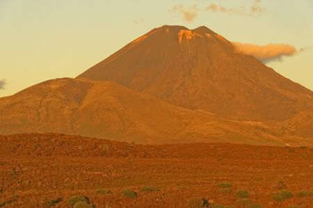 Sunset on Mt Ngauruhoe, Tongariro National Park, North Island, New Zealand