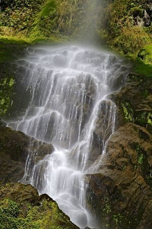 Five Mile Creek Falls in Lewiss Pass, South Island, New Zealand Stock Photo