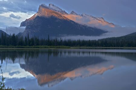 Mt Rundle and Vermillion Lakes, just after sunset in spring, Banff National Park, Alberta, Canada