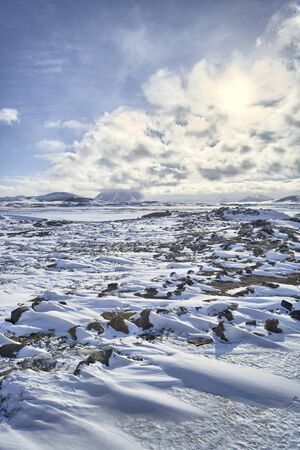 Snow, ice and volcanoes at Hverir, Iceland Winter Stock Photo