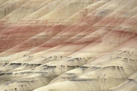 オレゴン州のペインテッドヒルズは、ジョンデイ化石ベッド国定記念物の3つのユニットの一つです。彼らはオレゴン州の七不思議の一つとしてリストされています。かつてこの地域は、温暖な熱帯気候と、耐えうる歯のトラのようなエキゾチックな先史時代の動物と緑豊かな森林を形成する植物の豊富な川の洪水平野でした。化石の残骸が豊富なため、脊椎動物の古生物学者にとって特に重要な領域です。3,500万年の間に、火山噴火と気候変動によって景観が数回変わりました。灰の層と鉱物や植物の材料と混合土壌の異なる種類は、塗装された丘の風景のユニークな着色を引き起こして浸食しました。灰色の材料は、泥岩、シルトストーン、およびシェールです。赤色材料は酸化鉄で、黄色の材料は酸化鉄と酸化マンガンで構成されています。黒い斑点は、古代植物材料によって引き起こされるマンガン複合体です。粘土は多くの水を吸収することができ、植物によってほとんど不可解です。粘土が乾くと、小さなペレットにブレーキがかかり、光が四方八方に反射するため色が消えます。粘土が水で完全に飽和すると、表面は完全に滑らかになり、着色ははるかに鮮やかになります。